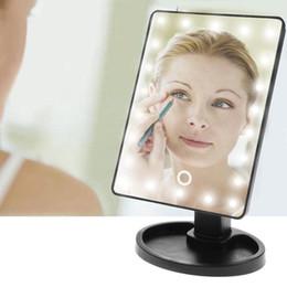 составлять степень Скидка Макияж LED зеркало вращение на 360 градусов сенсорный экран макияж косметический складной портативный компактный карман с 22 светодиодные зеркало для макияжа