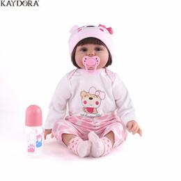 Mini muñecas de silicona renacer online-Venta al por mayor 55 cm 22 pulgadas de silicona renacer muñecas de juguete del bebé realista recién nacido bebé vivo realista Bebe Reborn juguetes para niña