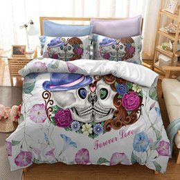 2019 il comforter blu chiaro regina regina Forever Love Skull Design Bedding Set 3PC Duvet Cover Set Of Quilt Cover & Pillowcase US AU UK Sizes