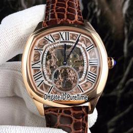 reloj esqueleto banda marrón Rebajas Nuevos 4 estilos Drive De Rose Gold Gold Skeleton Dial Romano Tourbillon automático Reloj para hombre Relojes deportivos Banda de cuero marrón CARB255b2