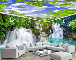 fondo de pantalla de la casa blanca Rebajas Antecedentes del papel pintado 3D Sala Custom House entero pintura de pared de la cascada del bosque que fluyen Grúa Grúa White Pigeon