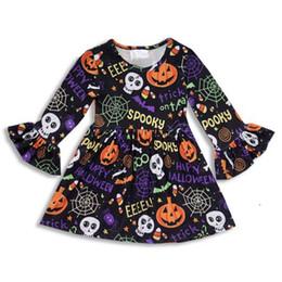 vestidos de adolescente roxos Desconto Vestido da menina Halloween Crianças Esqueleto Abóbora Vestido de Outono de Manga Longa Vestido de Bebê Traje Do Partido Do Dia Das Bruxas Roupas de Abóbora