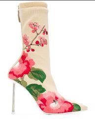 stilettos floreali Sconti Stiletto moda donna tacco medio Stivaletti donna scarpe a punta stampa fiori Tacchi alti Stivaletti donna nuovo stile Stivali con scatola