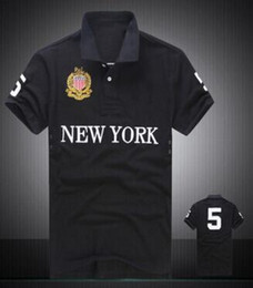 Golf new york en Ligne-100% coton Polo hommes grand cheval broderie Miami Paris Dubaï à New York Racing Club de golf Hommes Polos manches courtes T-shirts Sao Paolo