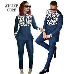 Vêtements africains de broderie en Ligne-vêtements africains mari et femme portent des vêtements africains bazin riche broderie dashiki livraison gratuite
