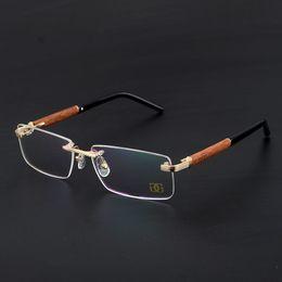 óculos quadro de madeira para homens Desconto Homens Óculos de Armação De Madeira Sem Aro Óculos de Olho Liga de Titânio Clássico Óculos Prescrição Espetáculo de Ouro Optical Moda Luz