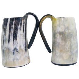 Manos de cuerno online-100% hecho a mano natural buey búfalo cuerno taza vikingo bebiendo tazas cerveza bebiendo cuerno taza súper fresco taza de la personalidad
