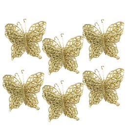 Decorazioni di natale delle farfalle online-Christmas Tree Ornaments Christmas Simulation Butterfly Xmas Ornament Oro rosso farfalla albero di Natale Hanging Decor Festival