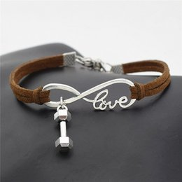 fitness christmas gifts Promo Codes - Newest Arrival Silver Infinity Love Barbell Dumbbell Sport Fitness Pendant Bracelet Dark Brown Leather Suede Rope Jewelry for Woman Men Gift