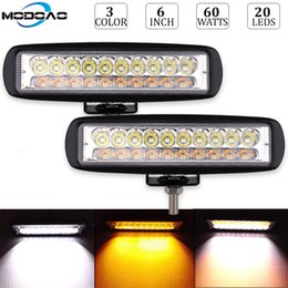 Faros antiniebla ámbar online-60W Led Work Light Bar 6Inch Dual Color Amber White Yellow Fog Lamp Driving Work Faros Flood Spot Fog Golde Lamp Car Styling