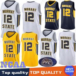 сплит спортивные майки Скидка NCAA 12 Ja Morant jerseys Murray State College синий золотой белый 12 ja Morant University 1 Zion Williamson 2 Cam красноватый баскетбол Джерси