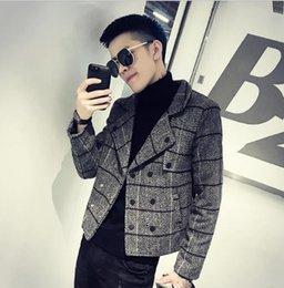 b5325511266 мужская мода простой стиль пальто Скидка 2019 новый модный мужской простой  тонкий плед куртка британский стиль
