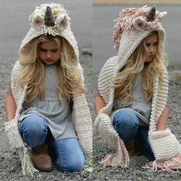 nuove berretti animali carini Sconti Brand New Unicorn con cappuccio sciarpa degli animali con cappuccio Cowl Crochet lavorato a maglia cappello del Beanie dei bambini dei bambini di estate del fumetto Moda Cappuccio 2-12Y