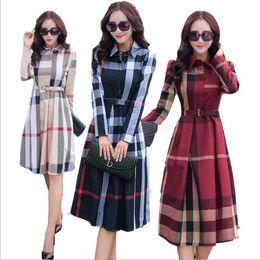 Vestido elegante xadrez on-line-Plus size dress manga comprida maxi dress trabalho escritório outono primavera roupas femininas vermelho xadrez tamanho grande vestido elegante
