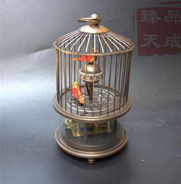 luzes de galo Desconto Rare latón jaula de pájaro mecánico reloj de mesa reloj