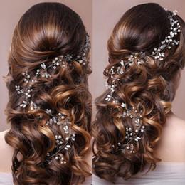 Западные орнаменты онлайн-Western Wedding Jewelry Headdress For Bride Handmade Wedding Hair Accessories Crown Floral Crystal Pearl Hair Ornaments 6C0193