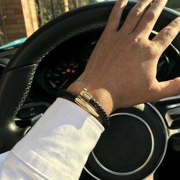 Armbänder für männer online-Mode Lederarmbänder Schmuck Pulseiras 6mm für Frauen-Männer Edelstahl-Design Nagelpunknagel Stulpe-Armband Hip Hop-Charme-Armband-Geschenk