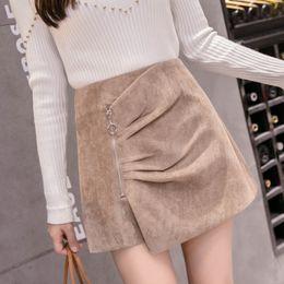 Новые вельветовые шорты онлайн-MUMUZI 2019 New Fashion Zipper High Waist Shorts Women Autumn Winter Corduroy Casual Wide Leg Shorts Skirt Wrap Women