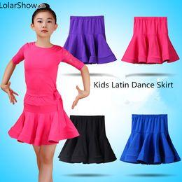 2019 sexy girl wear mini skirt Desgaste sexy latino da prática da saia da dança dos miúdos mini para a rapariga Rumba / Samba / Jive / Quick Step sexy girl wear mini skirt barato