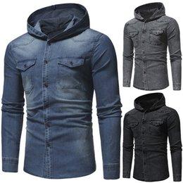 SFIT Vintage Hoodies Kot Ceketler Erkekler Bahar Sonbahar Moda Denim Ceketler Rahat Cepler Tasarım Erkek Denim Kapşonlu Mont nereden
