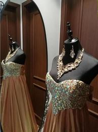 Aline vestidos de noite on-line-2019 Queda Novo Designer De Altura Do Ouro Off Aline Chiffon Longo Especial Ocasião Vestido Vestido de Noite Com Diamantes e Contas Vestido De Baile 2018