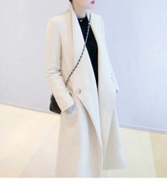 weiße maxi-mäntel Rabatt UK Manteau femme Frauen Herbst / Winter Weiß Schwarz Wollmischungen Einfache Revers Taschen Maxi langen Mantel Weibliche Casual Oberbekleidung