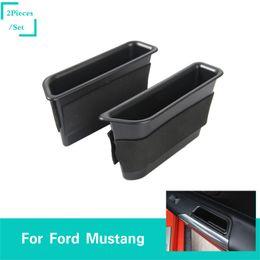 Caixa de armazenamento da porta do carro on-line-Tampa Da Decoração Da Caixa De Armazenamento Da Porta Do Carro ABS preto Para Ford Mustang 2015-2016 Car Styling Acessórios Interiores