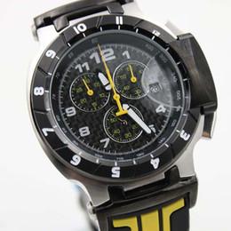 relogios amarelos Desconto Quickster T048 Rodada T-Race 1853 Chronograph Quartz Japão Preto E Amarelo Pulseira De Borracha Homens Relógio De Pulso Dos Homens Relógios