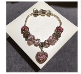 Silber-perlen online-Charm Armband 925 Sterling Silber PinkCrystal Heart Baumeln Anhänger Pandora Armbänder Für Frauen Lehm Armband Rosa Kristall Perlen Diy Schmuck