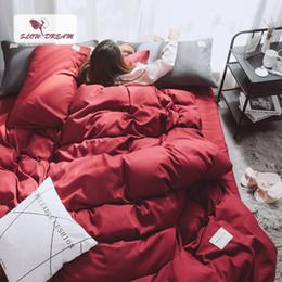 copriletto rosa rossa regina Sconti Lenzuola di vino rosso SlowDream Set copripiumino Matrimoniale Queen Bed Lenzuola lenzuolo Decor Home Copripiumino Set Letto in stile giapponese di lusso