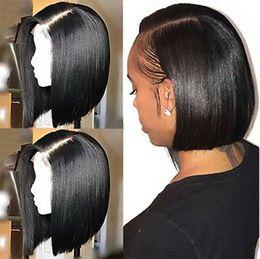 2019 penteados curtos para onda profunda negra Bob parte dianteira do laço do cabelo humano perucas com o cabelo do bebê Pré arrancada de Remy do brasileiro do cabelo completa End Liso Curto Bob Wig Para Negras
