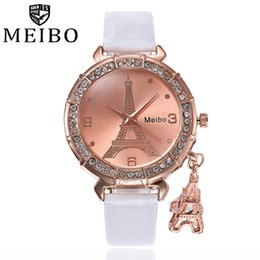Кварцевые часы eiffel онлайн-Fashion Women Bracelet Watch Quartz Watch PU Leather Eiffel Tower Rhinestone Pendant Free Shipping