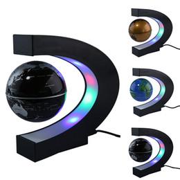 2019 levitazione magnetica della decorazione US / EU / UK / AU Plug Floating Globe World Map con LED Tellurion Home Office Decoration Regalo di compleanno Levitazione magnetica Globe Light Ornament sconti levitazione magnetica della decorazione
