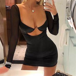 2019 schneiden sie das bleistiftkleid aus Ausschnitt, figurbetont, abends, durchsichtig, langärmlig, gespleißt, Party, kurz, Minikleid, Sommer, Frauen, Sexy V-Ausschnitt, Kleider günstig schneiden sie das bleistiftkleid aus