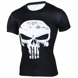 sports t shirts wholesale Promo Codes - 2018 Punisher Skull 3D T Shirt Men Compression Shirt Men Quick Dry Sport Shirt Bodybuilding Running T Shirts Men Fitness Gym Top