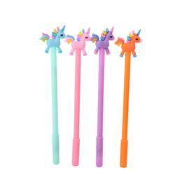 plumas coreanas Rebajas Kawaii Rainbow Unicorn Gel Pluma 0.5mm Negro Pluma Para Escribir Niños Creativos de Corea Papelería Individual Estudiantes Oficina Materiales Escolares