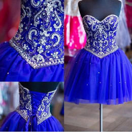 Glitter Royal Blue Short 2019 Prom Abiti Homecoming Sweetheart Perline Paillettes Strass Tulle Backless Festa Laurea Cocktail Dress da