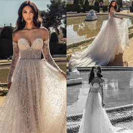 17ab5ef77ff 2020 Julie Vino Boho Wedding Dresses Sweetheart A Line Lace Long Sleeve  Bohemian Wedding Dress Backless Custom Made Country Bridal Gowns