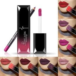 2 Teile / los Pudaier Matte Lippenstift Lippen + Lip Liner Bleistift Wasserdichte Langlebige Lippen Make-Up Kosmetik Kit von Fabrikanten