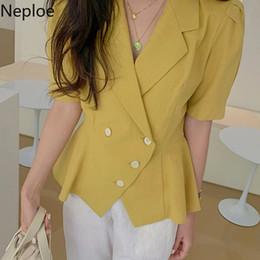 Neploe maniche a sbuffo camicetta da donna pulsante camicia bianco giallo scollo av top 2019 elegante ufficio signora streetwear blusas camicie fasciatura da