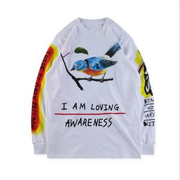 necked painting Promo Codes - Wes Lang Wyoming Tee hand-painted graffiti on a thick long-sleeved T-shirt long shirt