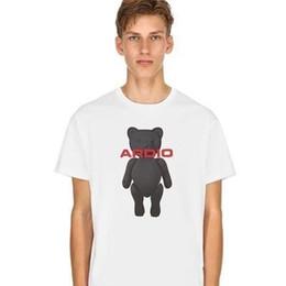 19SS Moda Tee Lindo Oso Carta Imprimir Suelta Cuello Redondo Manga Corta Hombre Y Mujer de Alta Calidad camiseta HFBYTX245 desde fabricantes