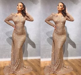 robes de fiesta des filles Promotion Or À Manches Longues Sirène Robes De Bal 2020 Rouge Paillettes Filles Robe De Bal Robe De Toilette Robe De Soirée Robe De Soirée