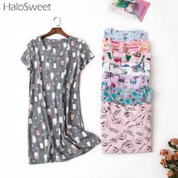 Indumenti da notte della bamboletta del cotone online-HaloSweet 90kg Plus Size 100% cotone Sleepwear donne da notte della camicia da notte Vintage Night Dress Babydoll Chemise Indoor