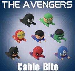 2019 Nuevo Cable Bite The Avengers Cargador Protector de cable Super héroe Protector de carga Protector de cable cubierta para teléfono Figuras lindas diseño desde fabricantes