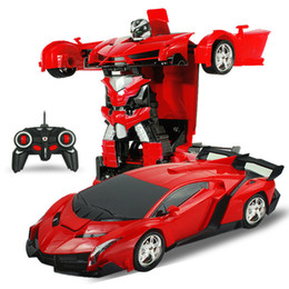 kids toys car battery Promo Codes - Damage Refund 2In1 RC Car Sports Car Transformation Robots Models Remote Control Deformation RC fighting toy Children's GiFT