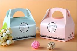 scatole di biscotto blu all'ingrosso Sconti Commercio all'ingrosso libero di trasporto di Pinkk delle scatole del dolce della torta dei contenitori di torta del forno dei biscotti portatili della pasticceria