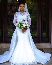 top afrikanische spitze Rabatt Afrikanische schiere langen Ärmeln Spitze Meerjungfrau Brautkleider 2019 Mesh Top Applikation über Rock Gericht Zug Hochzeit Brautkleider Vestidos De Novia
