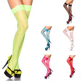 Collant verde online-Calda caramella di colore Neon verde Calze Sexy coscia Calze alte Donna sopra al ginocchio Calza lunga sottile Calze Collant senza mutanda
