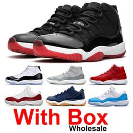 Scarpe da pallacanestro sconti online-2019 11 11s Bred Mens scarpe da basket Concord 11 45 Platinum Tinta Space Jam Gamma Blu Designer Sneakers XI con le scarpe di sicurezza di sconto